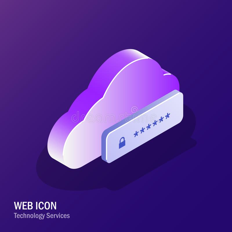 Cloud Security. User identification to access files or data. Request to enter the code. Two factor authentication. Editable isometric vector illustration vector illustration
