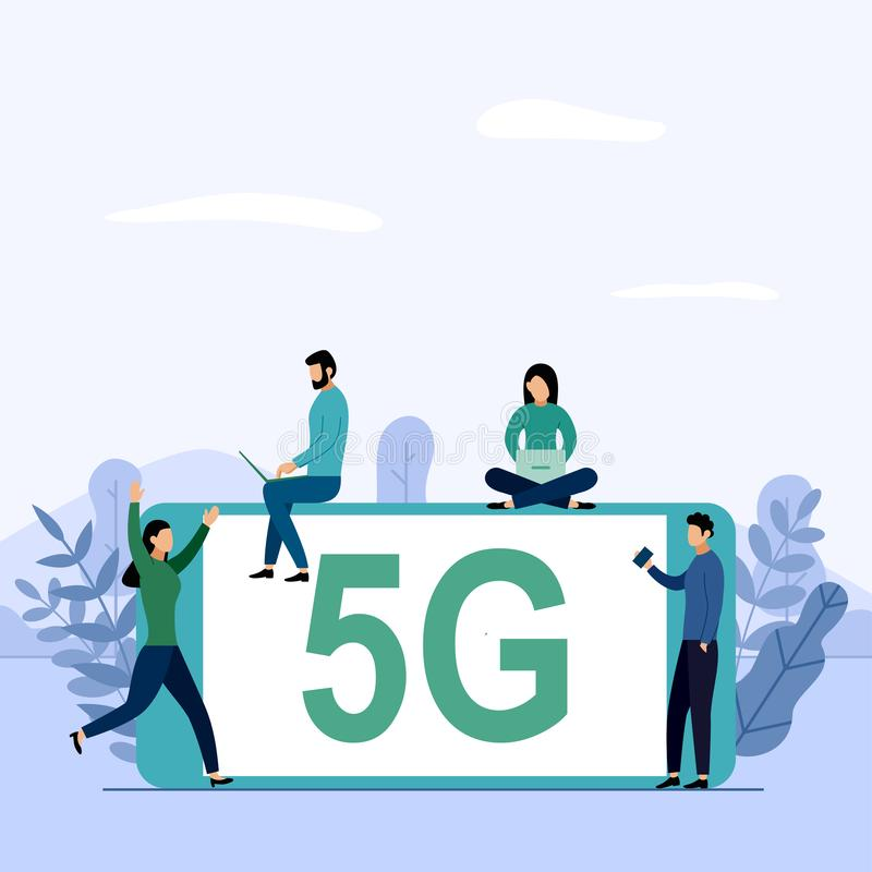 5G network wireless system wifi connection, high-speed mobile Internet. using modern digital devices, business concept vector. 5G network wireless system wifi vector illustration