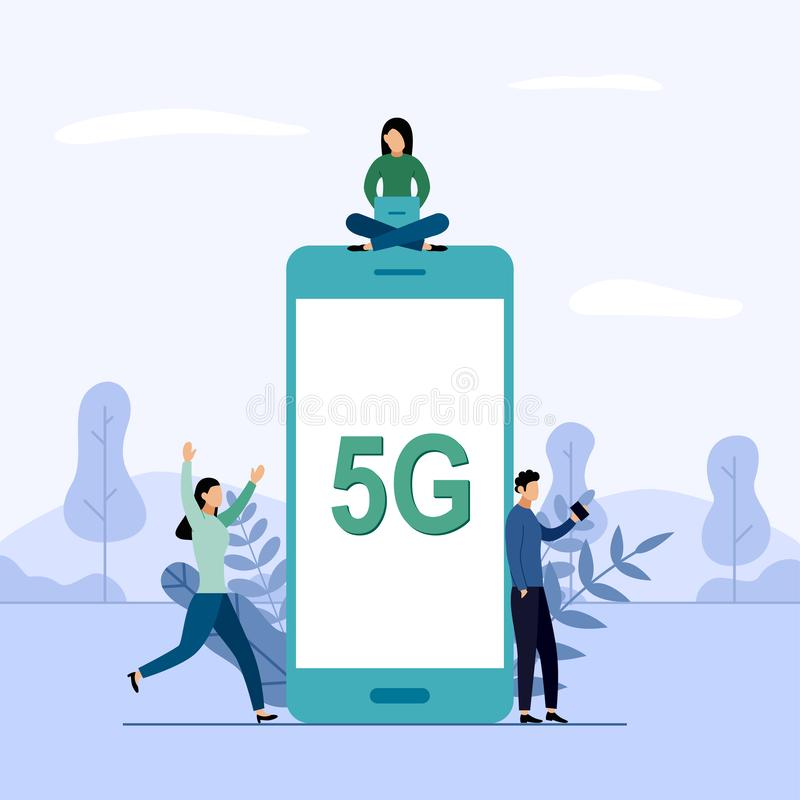 5G network wireless system wifi connection, high-speed mobile Internet. using modern digital devices. Business concept vector illustration royalty free illustration