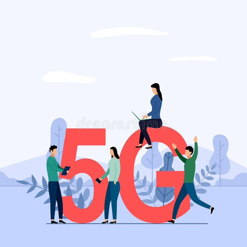 5G network wireless system wifi connection, high-speed mobile Internet. using modern digital devices. Business concept vector illustration stock illustration