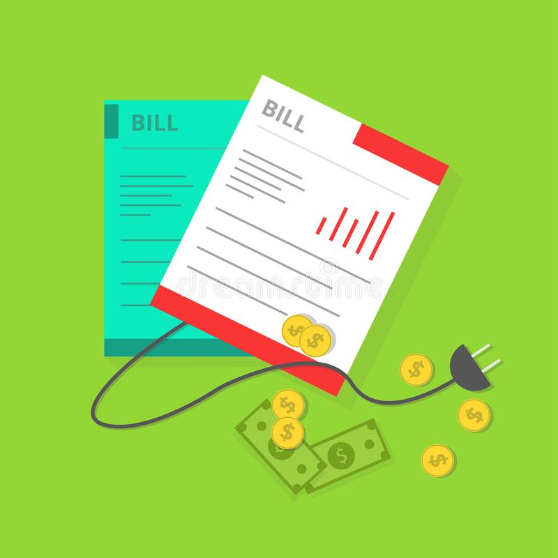 Simple Flat Electric Bill Illustration stock illustration