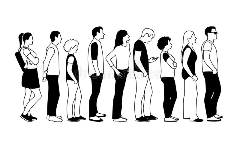 Black and white illustration of people in line stock illustration
