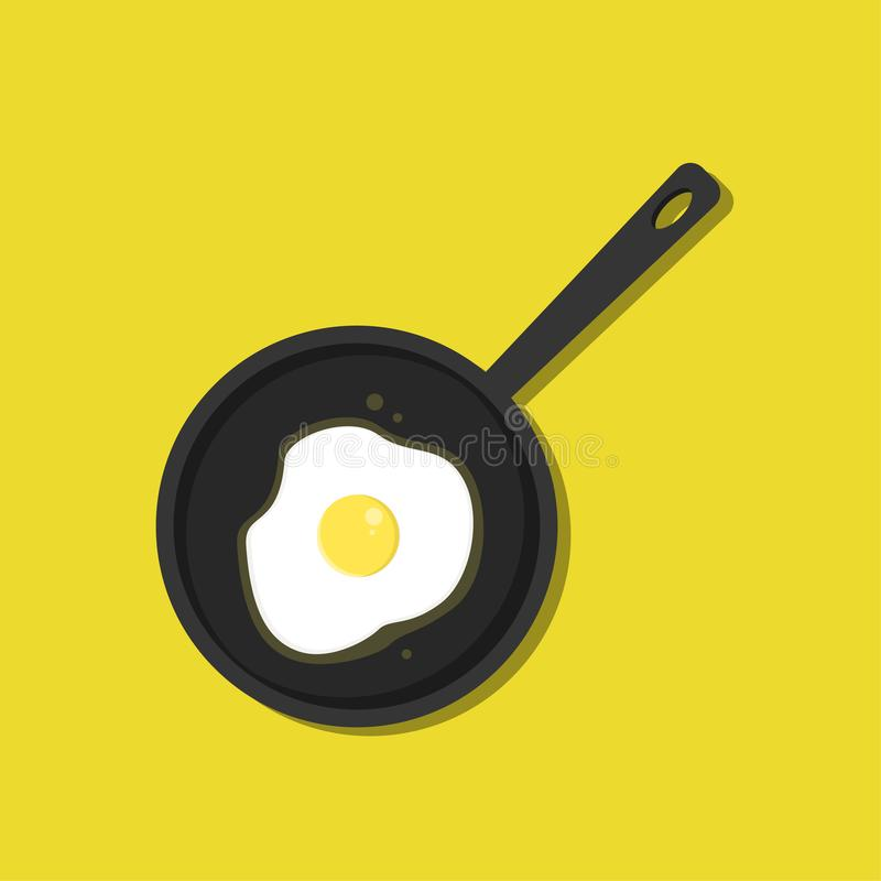 Top view Frying pan with fried egg stock illustration