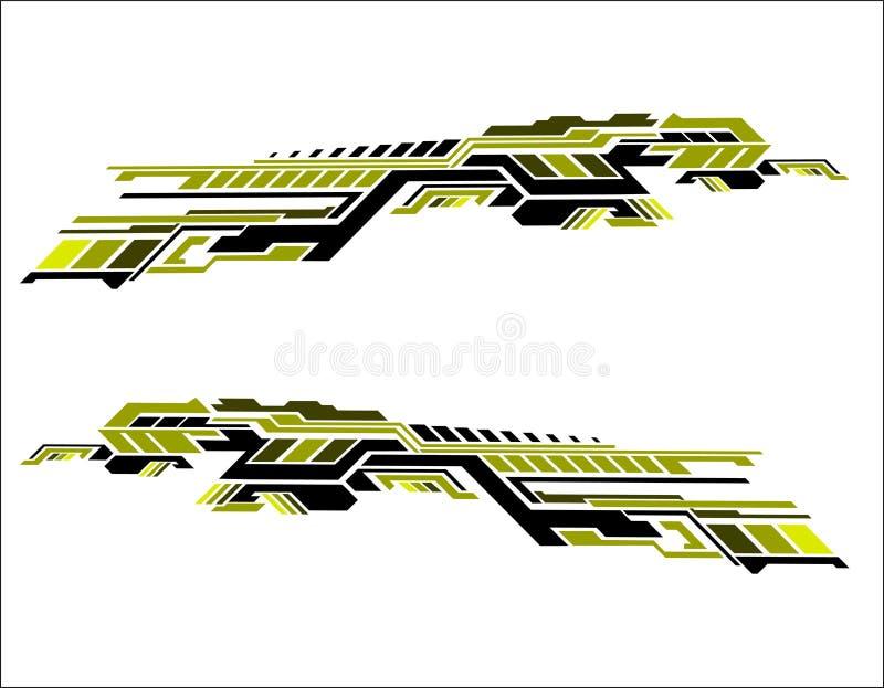 Vinyls sticker set Decals for Car truck mini bus modify Motorcycle. Racing Vehicle Graphics kit isolated vector liberty walk desig. N race Elegant stripes modern royalty free illustration