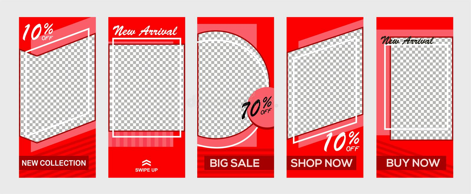 Set of Instagram stories sale banner background, Instagram template photo, can be use for, landinga page, website, mobile app, pos vector illustration
