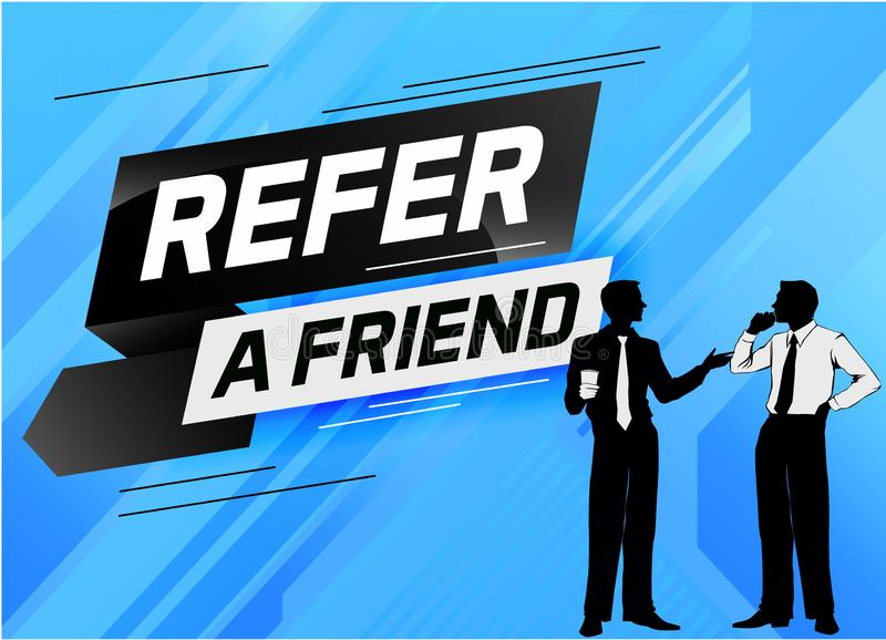 Refer a friend word concept vector illustration with character silhouette man people talking. landing page, template, ui, web, mob stock illustration