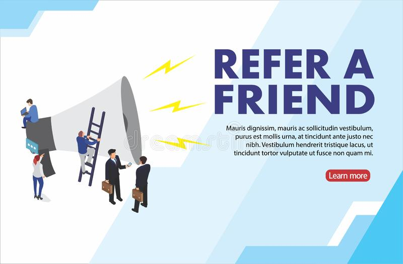 People shout on megaphone with Refer a friend word concept vector isometric illustration with character hand shake, landing page, royalty free illustration