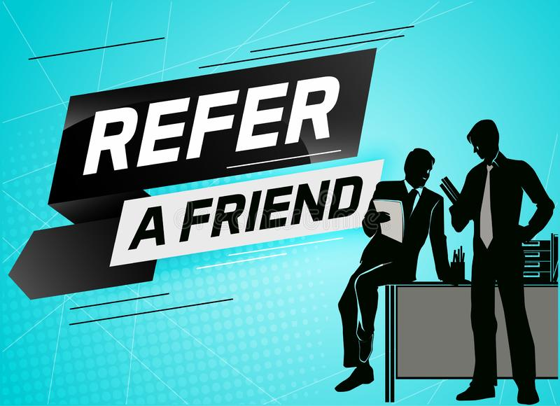 Refer a friend word concept vector illustration with character silhouette man people talking. landing stock illustration