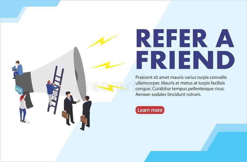 People shout on megaphone with Refer a friend word concept vector isometric illustration with character hand shake, landing page, stock illustration