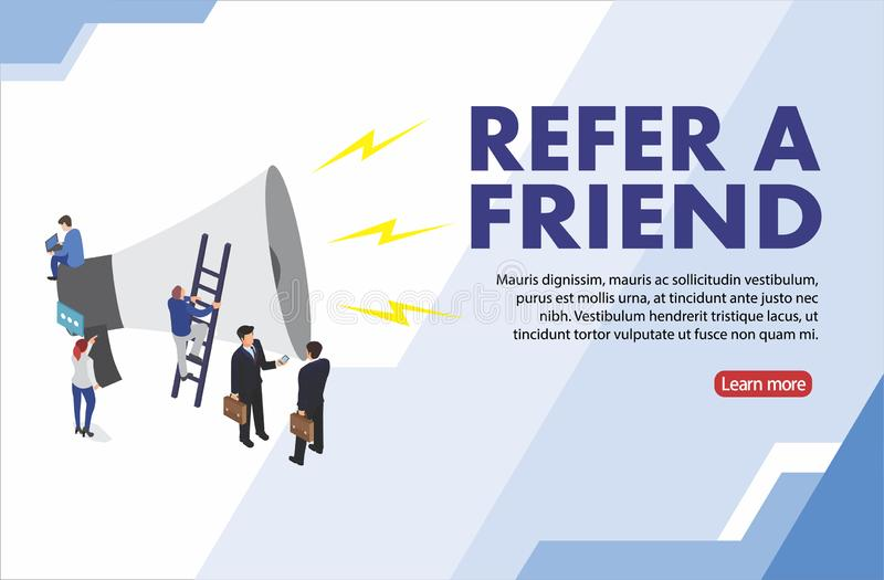 Refer a friend word concept vector illustration with character silhouette man people talking. landing page, template, ui, web, mob vector illustration