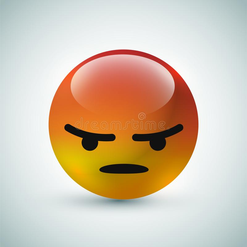 High quality 3d vector round yellow cartoon bubble emoticons for social media chat comment reactions, icon template face Angry emo royalty free illustration