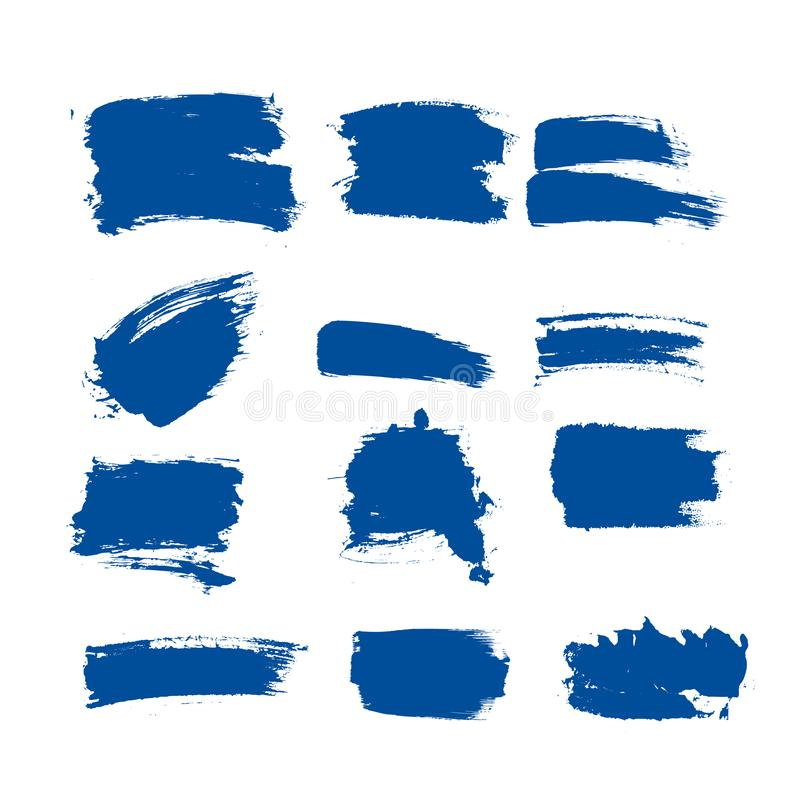 Collection vector blue ink paint brush stroke set Hand drawn grunge decorative brush strokes design element collection isolated Un stock illustration