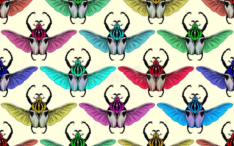 Seamless pattern with goliath beetle. Vector stock illustration