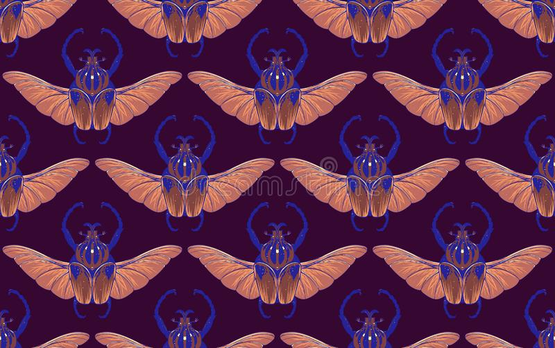 Seamless pattern with goliath beetle. Vector vector illustration