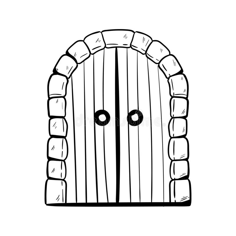 Old arched door doodle hand drawing.  royalty free illustration