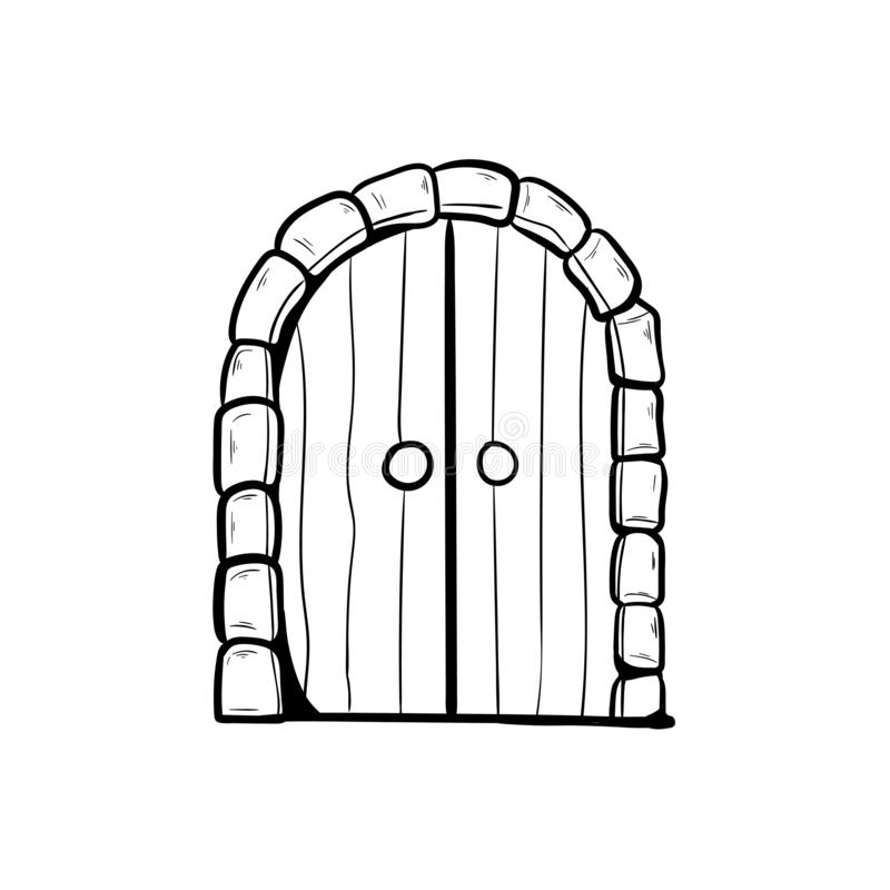 Old arched door doodle hand drawing.  stock illustration