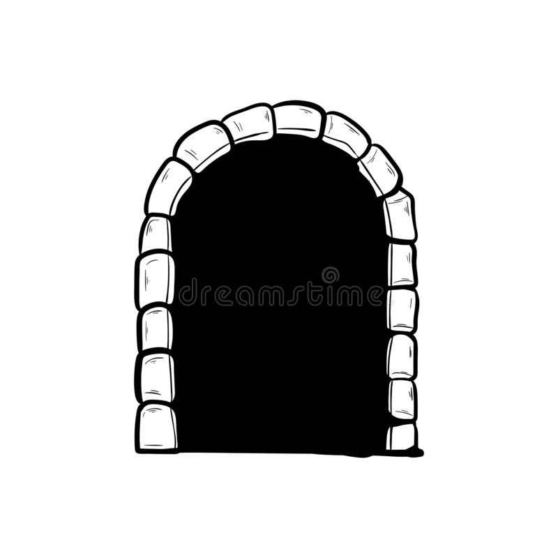 Old arched door doodle hand drawing.  vector illustration