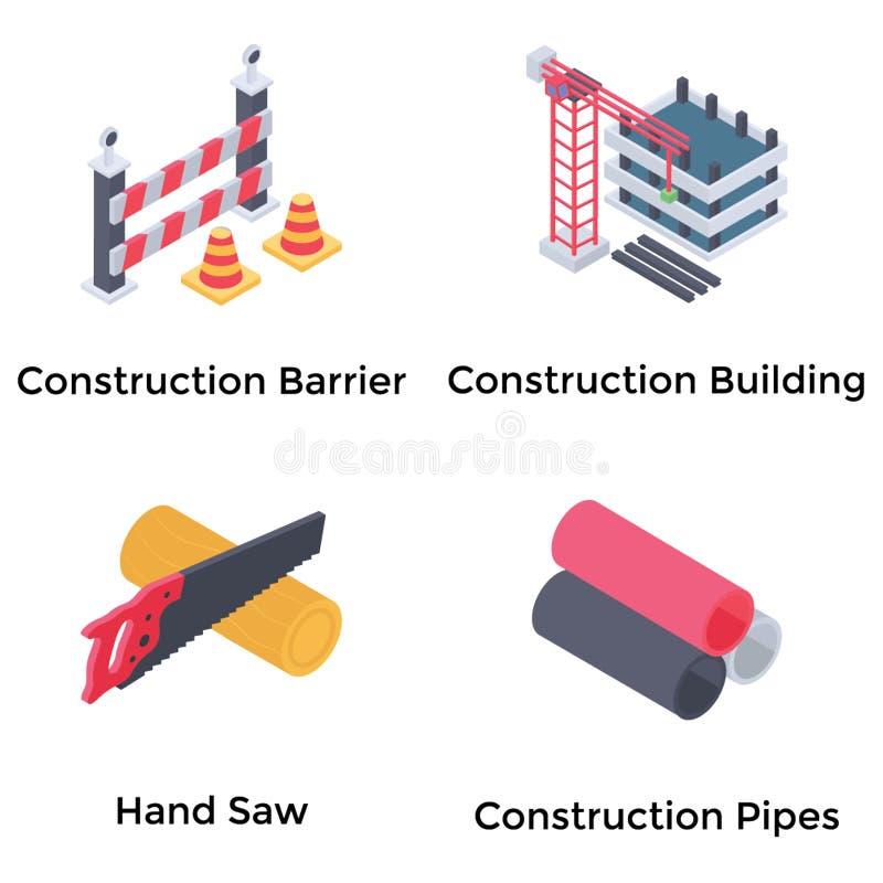 Construction Isometric Icons Set stock illustration
