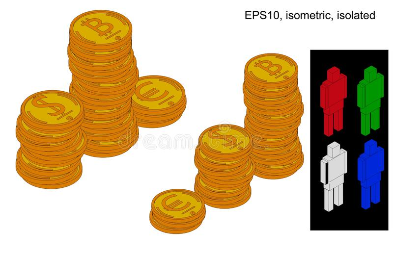 Podium of stacks of coins royalty free illustration