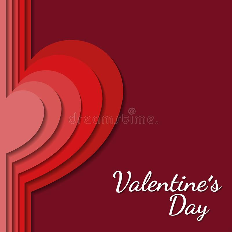 Valentine`s day background with heart shaped in paper art style, , flyer invitation, posters, brochure, banners. royalty free illustration