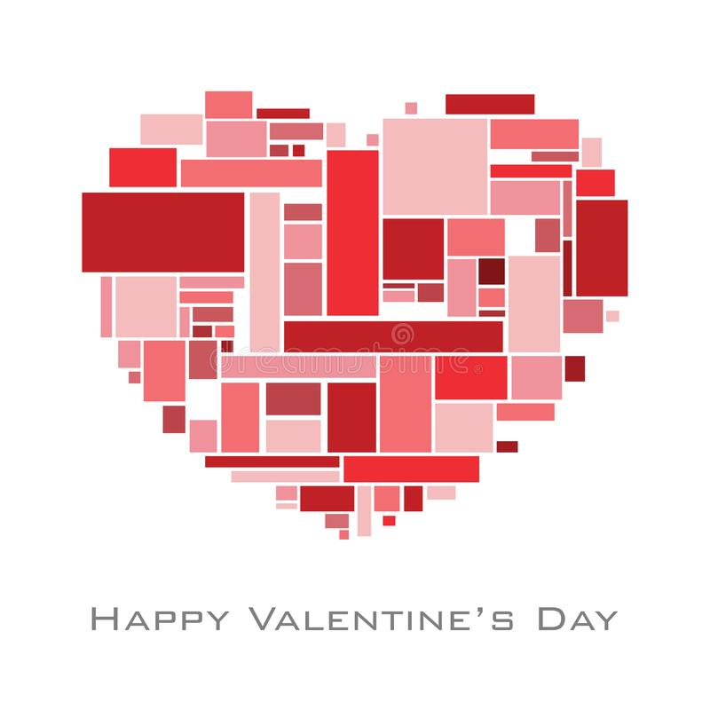 Heart with random rectangles in red tome for valentine`s day vector illustration