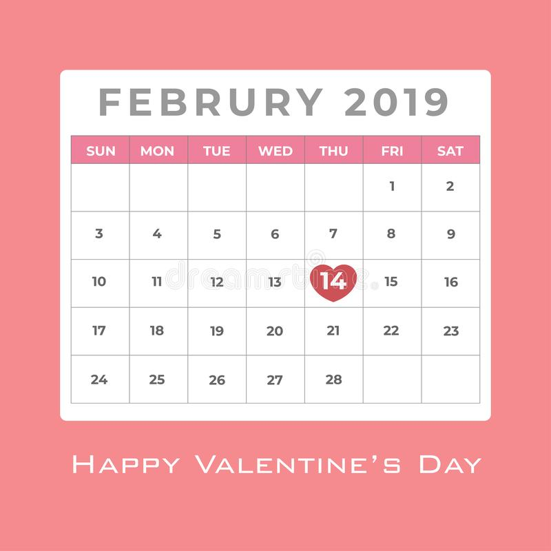 February 2019 calendar with red heart highlight at day 14 for valentine`s day royalty free illustration