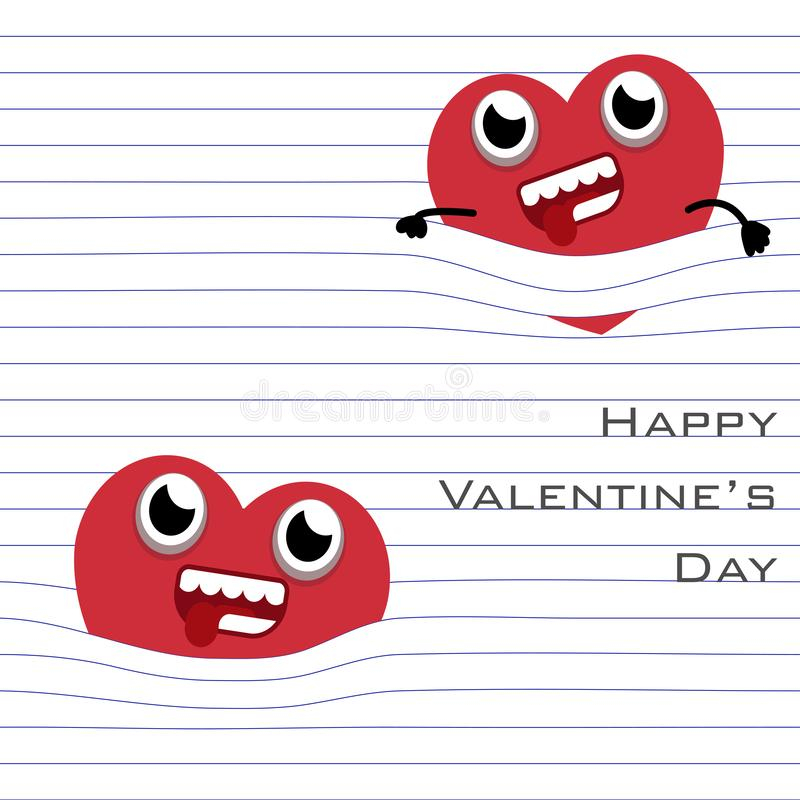 MobileRed Heart cartoon hang with the line of paper page in white background stock illustration