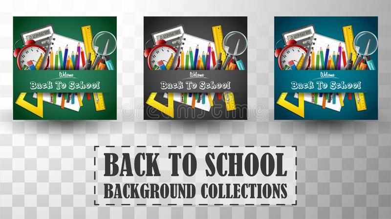 Back to school background collections vector illustration
