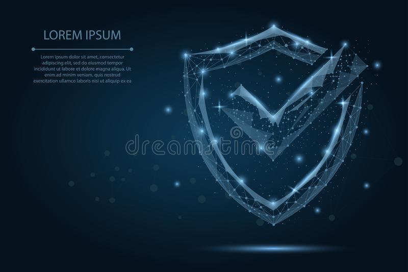 Abstract image of a Check mark on shield consisting of points, lines, and shapes. Polygonal wireframe mesh royalty free illustration