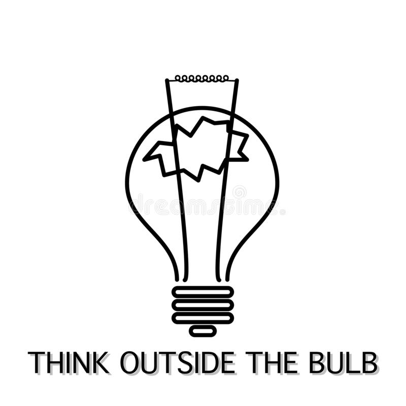 Think outside the bulb instead box inspiring ideas royalty free illustration