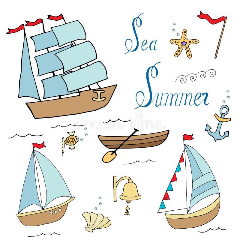 Set of ships for marine design. Cartoon lines art. Vector hand draw illustration stock illustration