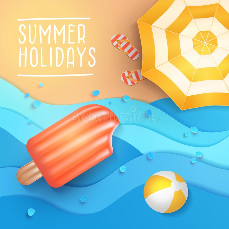 Summer holidays illustration. Paper cut tropical beach top view background with umbrella, flip flops, ball and swim Ice cream air vector illustration