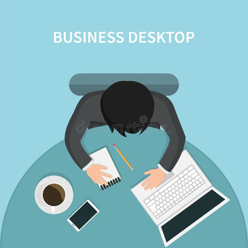 Top view of person business desk with his laptop stock illustration