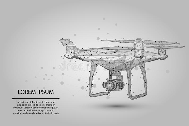 Abstract mash line and point Quadrocopter. Polygonal low poly 3D flying drone royalty free illustration