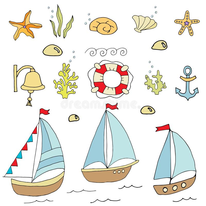 Set of images of palm tree, boat, parasol vector illustration