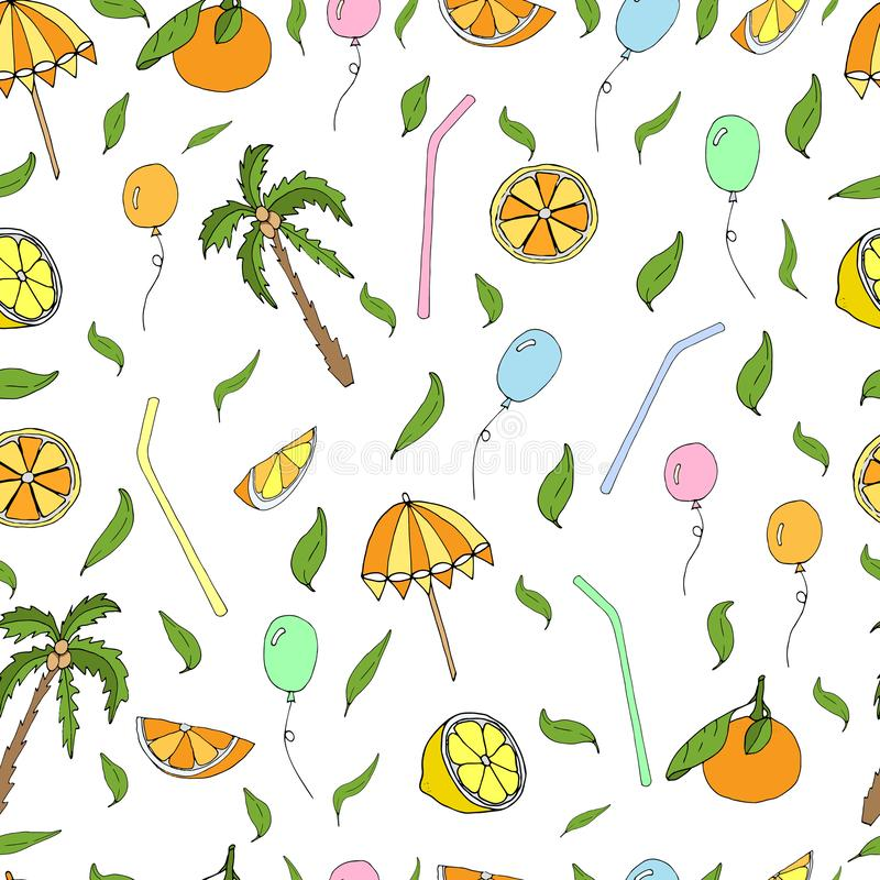 Beach party: oranges and palm trees on the beach. Background hand draw  Vector  for the decoration of a holiday at sea. Beach party: oranges and palm trees on royalty free illustration
