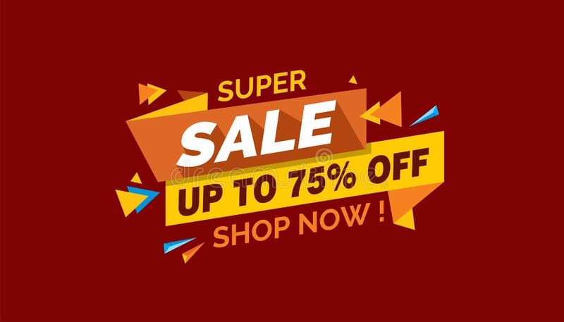 Super Sale, Colorful Sale Banner Label, Promo Sale Card royalty free stock photos