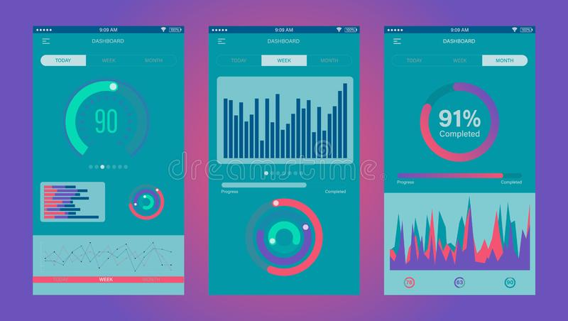 Admin Dashboard UI mobile app. Mobile app infographic template with daily, weekly and monthly statistics graphs. Concept mobile ap vector illustration
