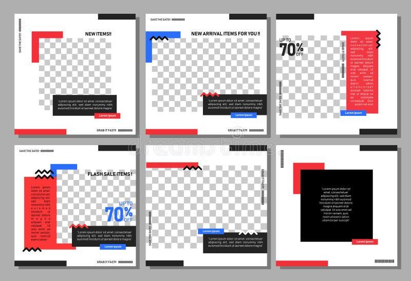 Set of editable square banner template. Editable banner for social media post and web/internet ads. Editable banner adversiter tem stock illustration