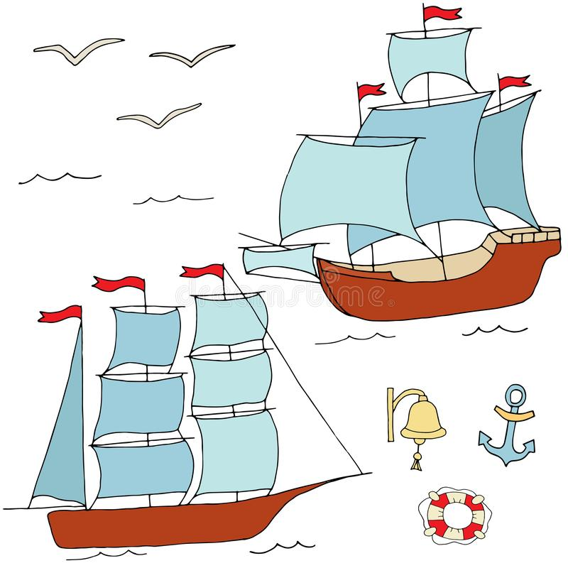 Large ships for decoration of the marine theme stock illustration