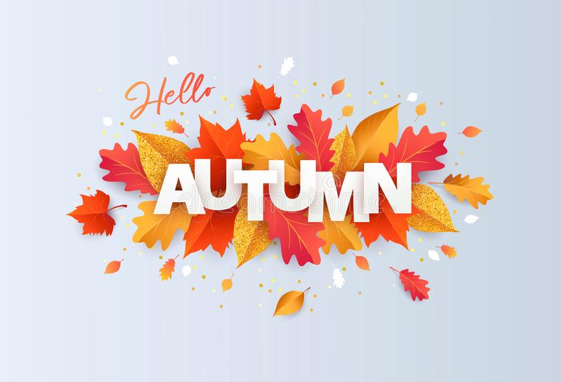 Hello Autumn Vector illustration with phrase in paper cut style decorated with beautiful bright leaves on light background stock illustration