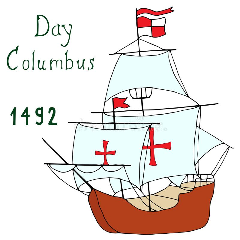 Spreading sails of Columbus caravel vector illustration