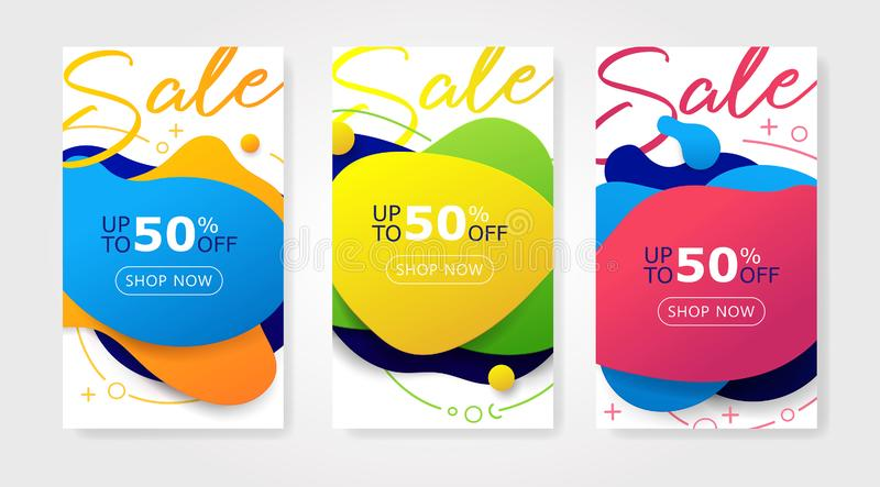 Trendy Set of Sale banners with dynamic modern orange, pink, blue, green, yellow liquid shapes stock illustration