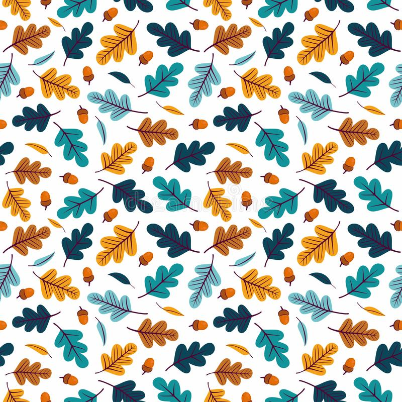 Seamless pattern with acorns and autumn oak leaves in Orange, Beige, Brown, Yellow, Blue vector illustration