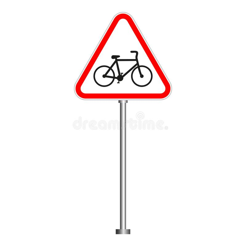 Warning sign bike in a red triangle on a white background. Traffic sign. stock photography