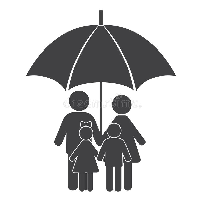 Man, woman and children hold hands under an umbrella. Family symbol. stock image