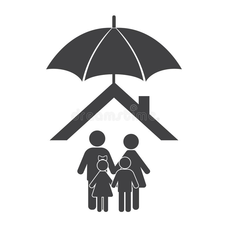 Home with family protected under umbrella flat design. Can be used for web banner, business, website, poster design, layout, diagr stock photos