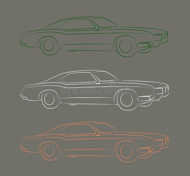 Pony car contour vector illustration stock photo