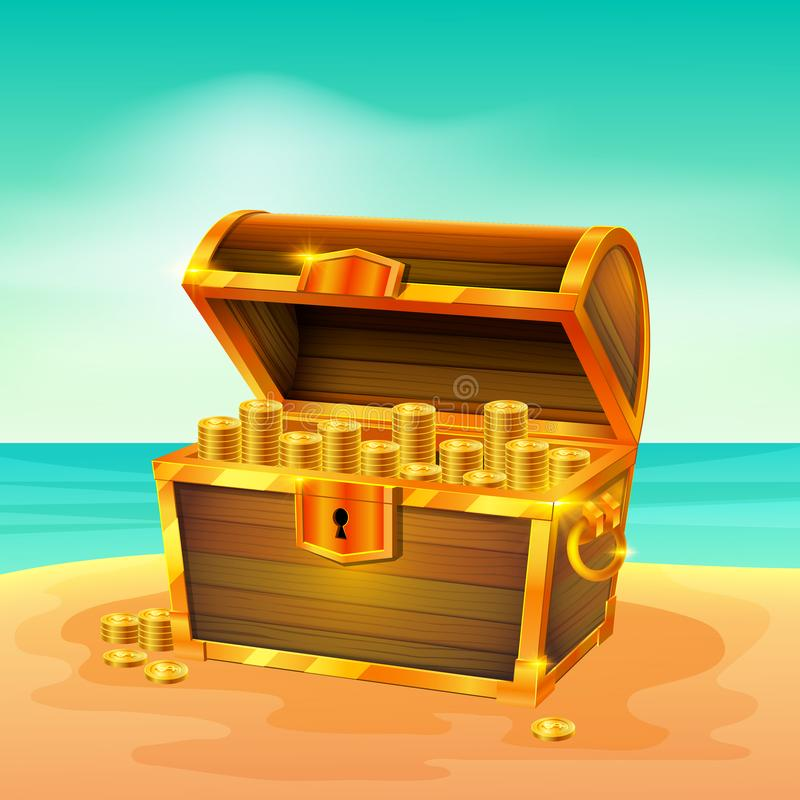 Treasure Chest on The Beach. Illustration of Treasure Chest on The Beach royalty free illustration
