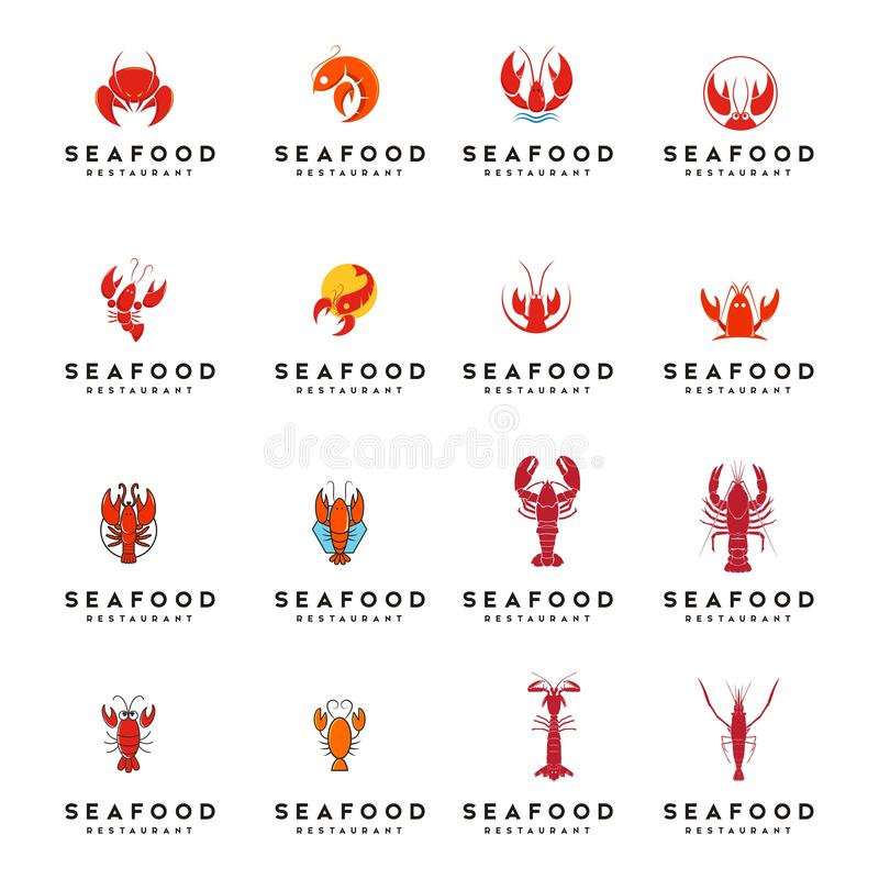 Set of seafood lobster logo design vector. Template vector illustration